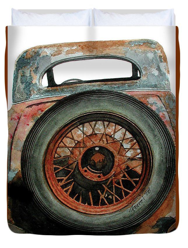 Car Duvet Cover featuring the painting Tired by Ferrel Cordle