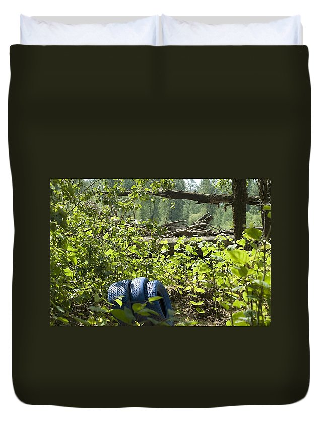 Tire Duvet Cover featuring the photograph Tires Blue by Sara Stevenson