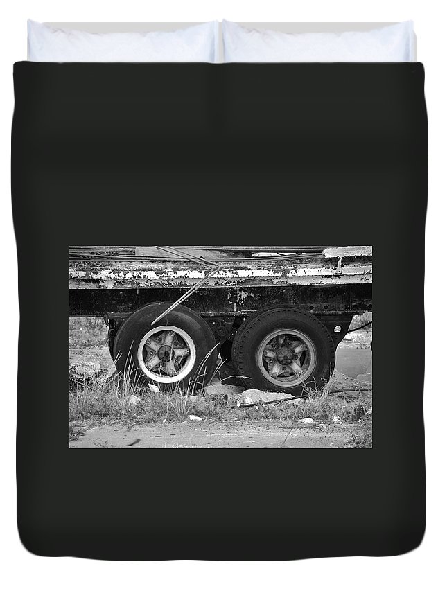 Black And White Duvet Cover featuring the photograph Tires by Rob Hans