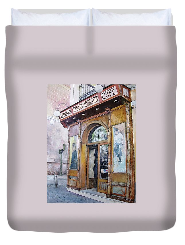 Tirso Duvet Cover featuring the painting Tirso De Molina Old Tavern by Tomas Castano