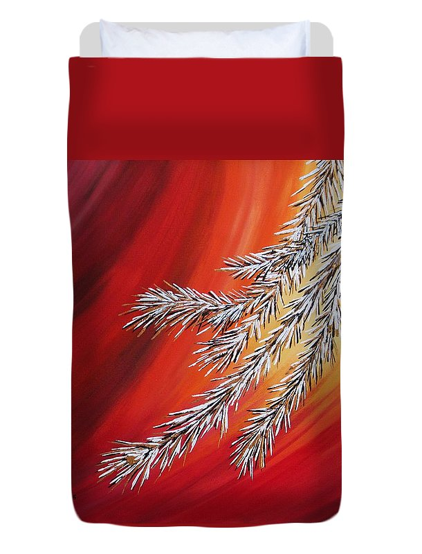 Semi-abstract Duvet Cover featuring the painting Tis The Season by Carol Sabo