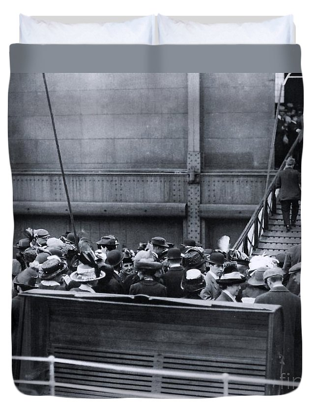 Titanic Duvet Cover featuring the photograph Titanic Rescue Ship Carpathia Arriving In Dock by The Titanic Project