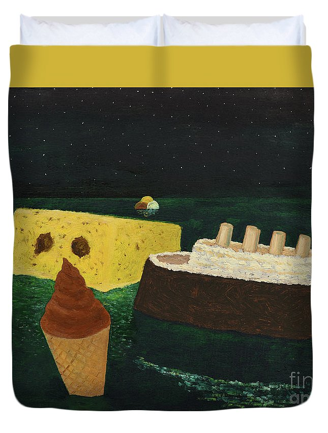 Titanic Duvet Cover featuring the painting Titanic's Birthday by Oleg Konin