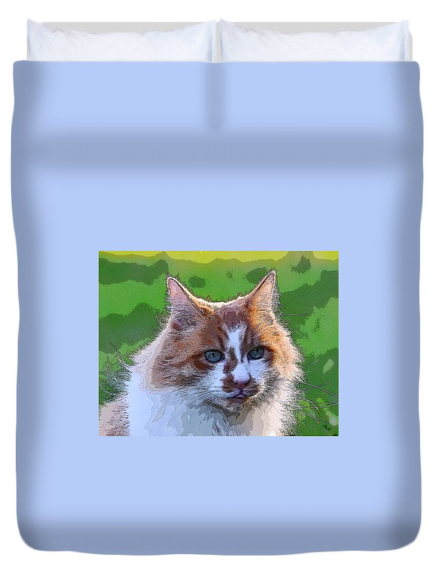 Cat Duvet Cover featuring the photograph TJ by Alan C Wade