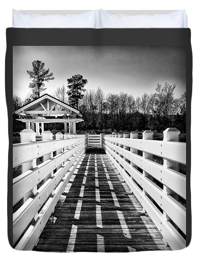 Gazebo Duvet Cover featuring the photograph To A Quiet Place by Paul Schreiber