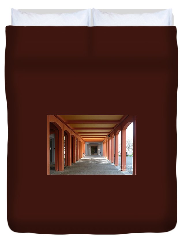 Perspective Duvet Cover featuring the photograph To Class by Carol Groenen