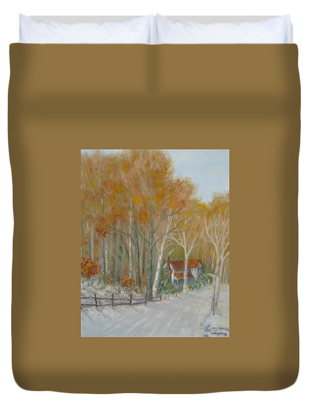 Country Road; House; Snow Duvet Cover featuring the painting To Grandma's House by Ben Kiger