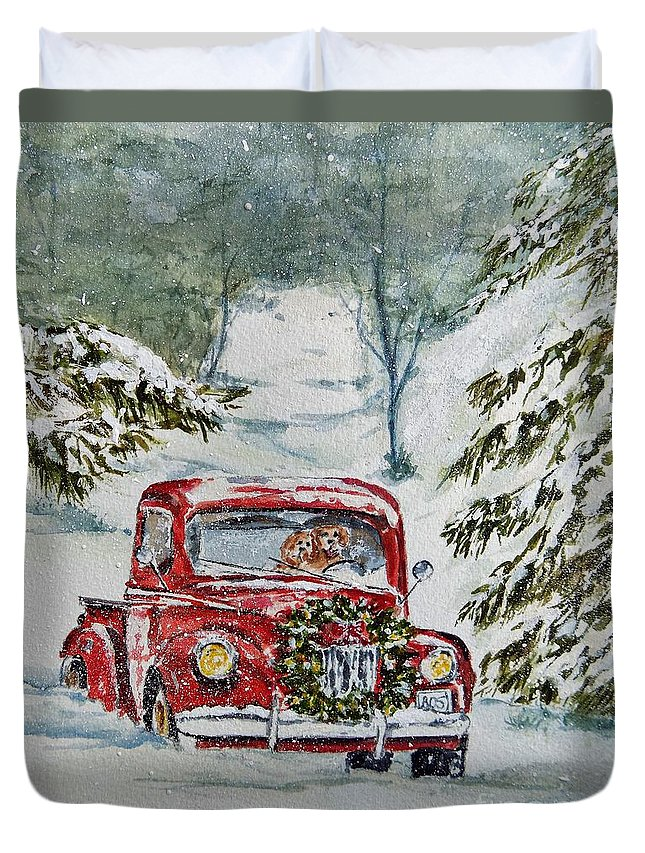 Truck Duvet Cover featuring the painting To Grandma's House We Go by Donna Hope