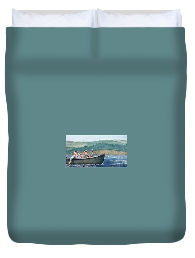Canoe Duvet Cover featuring the painting To Life by Gale Cochran-Smith