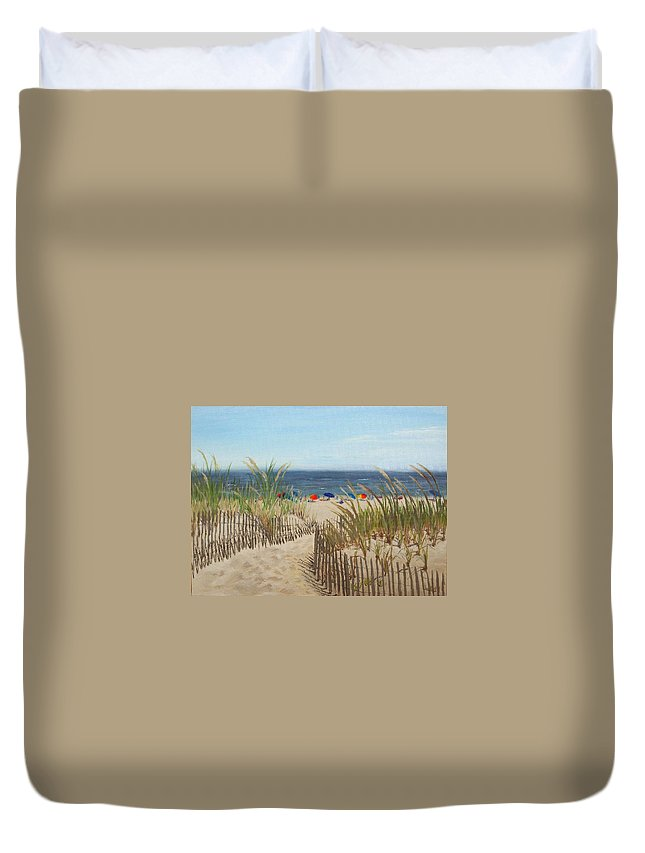 Beach Duvet Cover featuring the painting To The Beach by Lea Novak