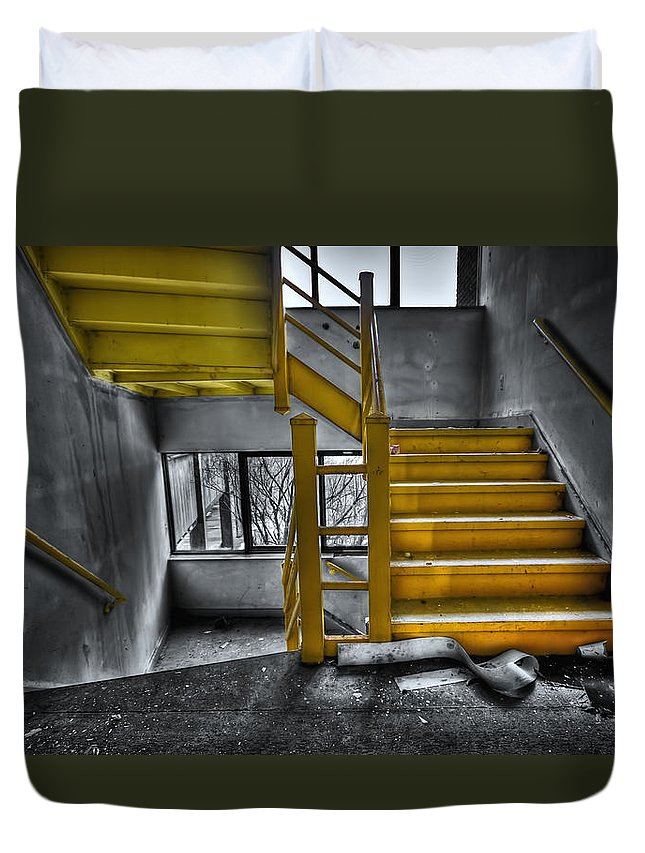 Stair Duvet Cover featuring the photograph To The Higher Ground by Evelina Kremsdorf