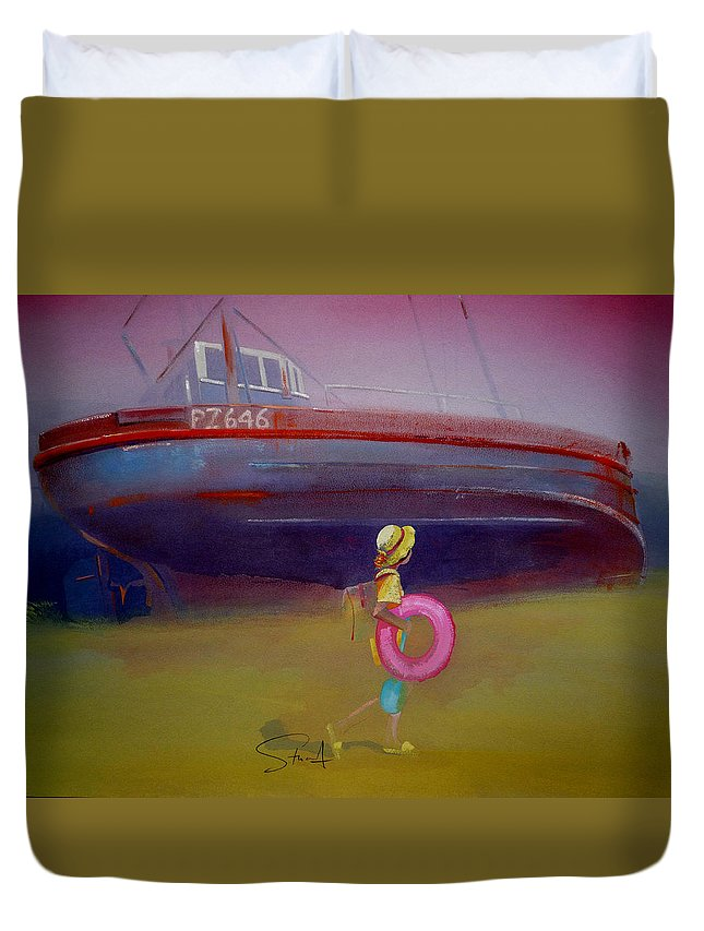 Penzance Duvet Cover featuring the painting To The Lighthouse by Charles Stuart