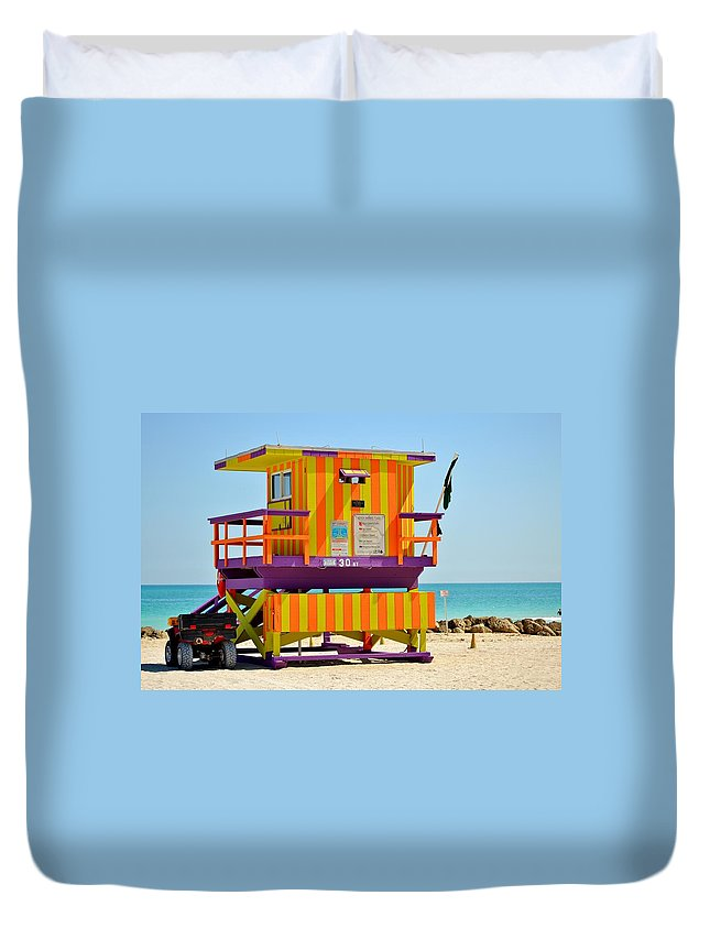 Miami Beach Duvet Cover featuring the photograph To The Rescue 3 by Rene Triay Photography
