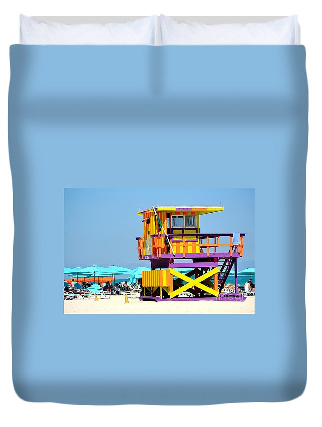Miami Beach Duvet Cover featuring the photograph To The Rescue 5 by Rene Triay Photography