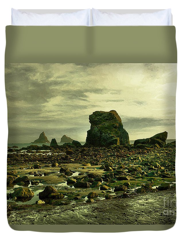 Coast Duvet Cover featuring the photograph To Walk Alone Along Rocky Shores by Jeff Swan