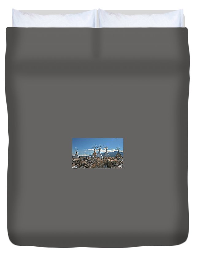 Tee Pees Duvet Cover featuring the photograph Tee Pees, Taos New Mexico by Judithann O'Toole