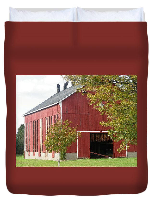 Tobacco Duvet Cover featuring the photograph Tobacco Barn by Peggy King