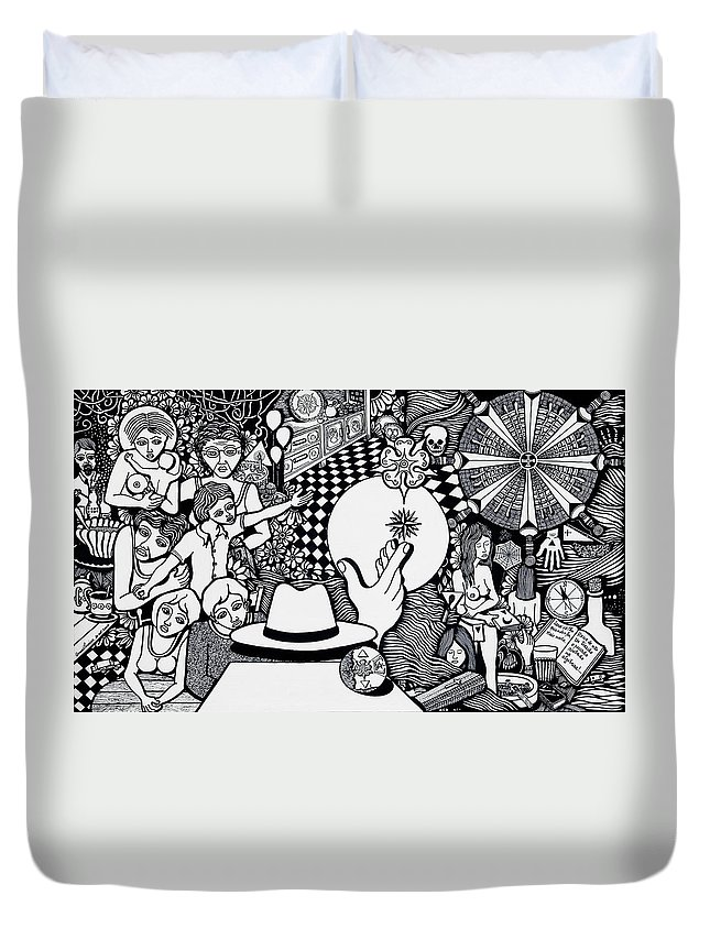 Drawing Duvet Cover featuring the drawing Today I No More Have Birthdays by Jose Alberto Gomes Pereira