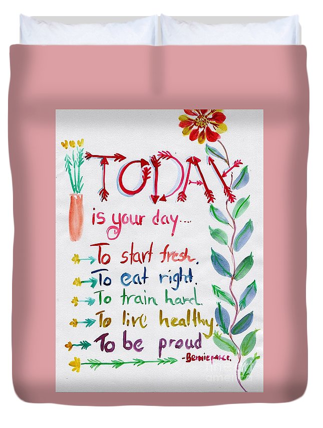 Wall Art Duvet Cover featuring the painting Today Is Your Day by Sweeping Girl