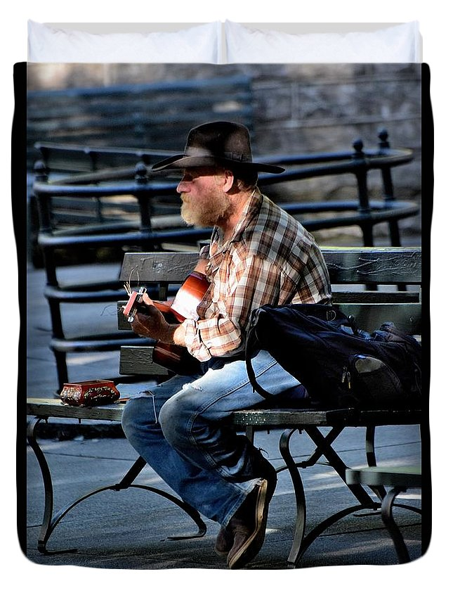 Street Peformers Duvet Cover featuring the photograph Todays Art 1261 by Lawrence Hess