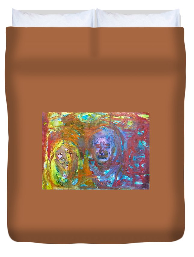 Abstract Duvet Cover featuring the painting Todays Middle Class by Judith Redman