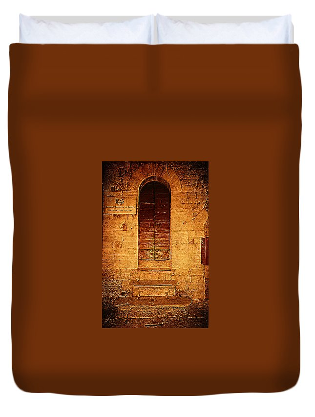 Todi Italy Medieval Door Duvet Cover featuring the photograph Todi Italy Medieval Door by Femina Photo Art By Maggie