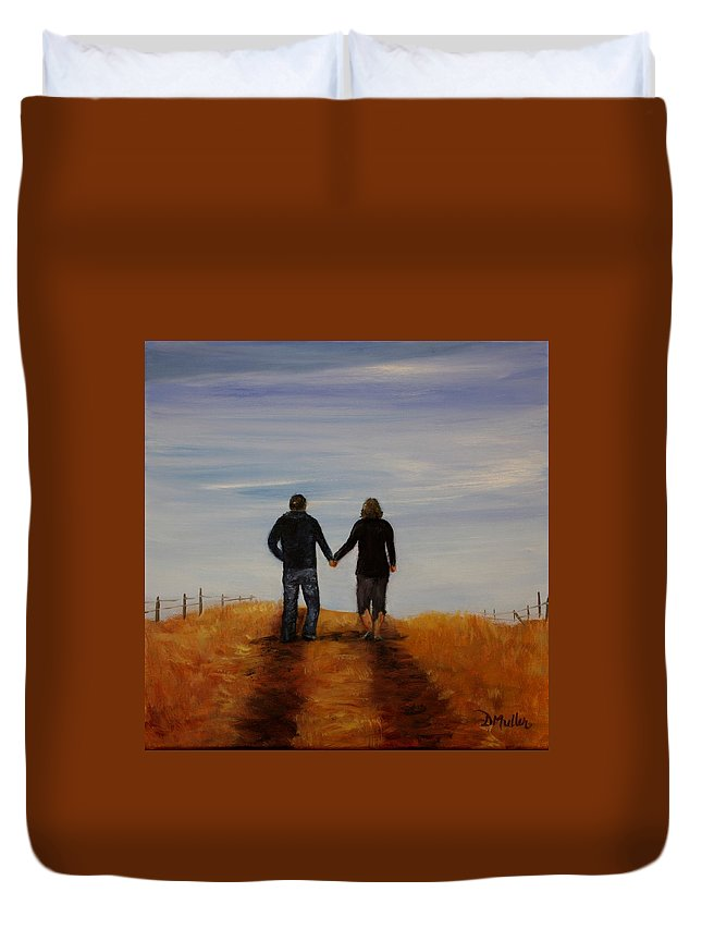 Alberta Duvet Cover featuring the painting Together by Donna Muller