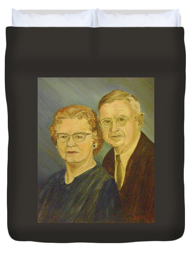 50th Anniversary Duvet Cover featuring the painting Together by Jane Honn