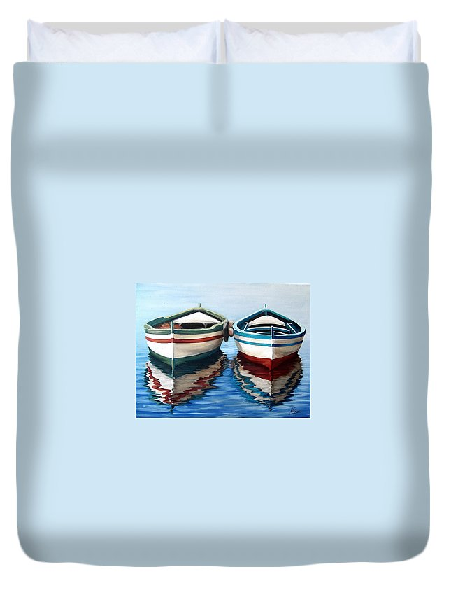 Seascape Sea Boat Reflection Water Ocean Duvet Cover featuring the painting Together by Natalia Tejera