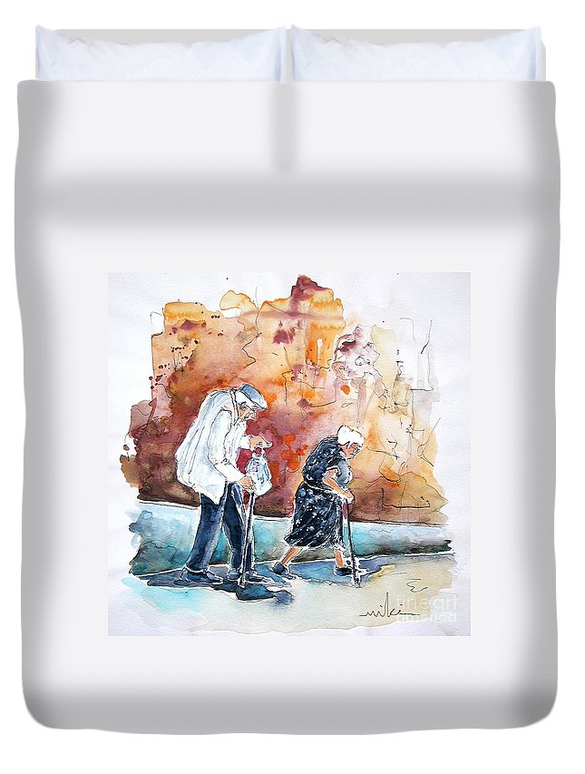 Portugal Paintings Duvet Cover featuring the painting Together Old In Portugal 01 by Miki De Goodaboom