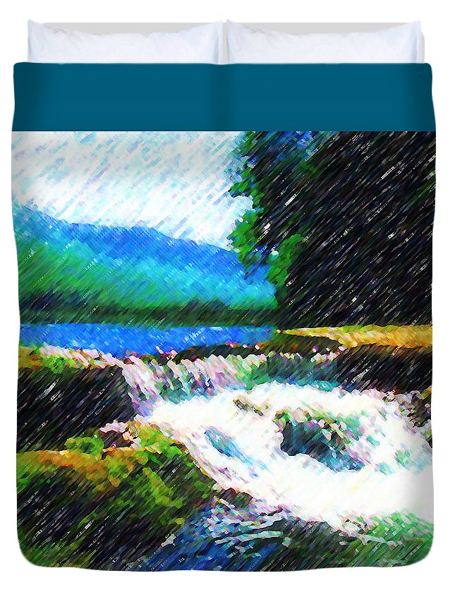 Landscape Duvet Cover featuring the photograph Tolhuaca by Madalena Lobao-Tello
