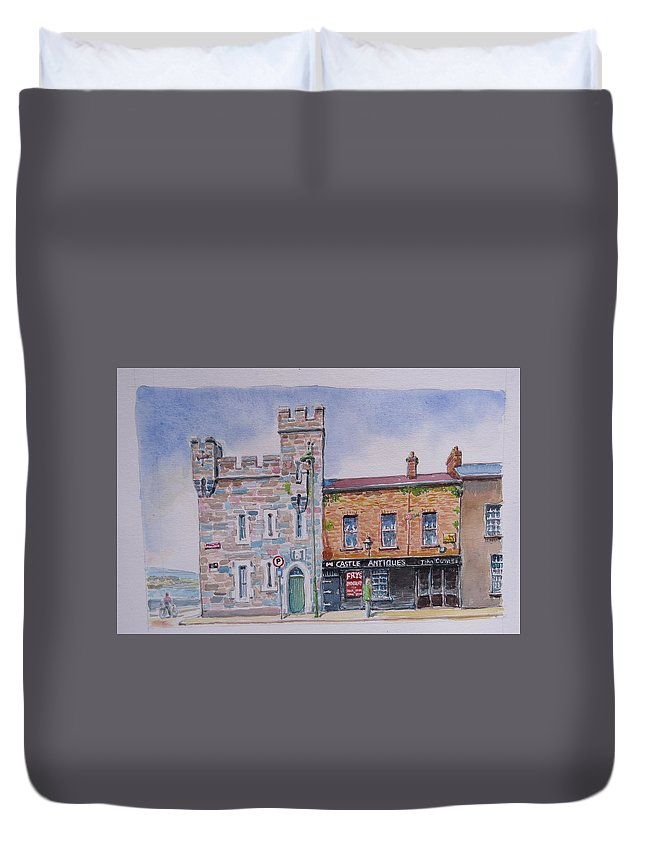 Castle Antiques Duvet Cover featuring the painting Toll House Limerick by Tomas OMaoldomhnaigh