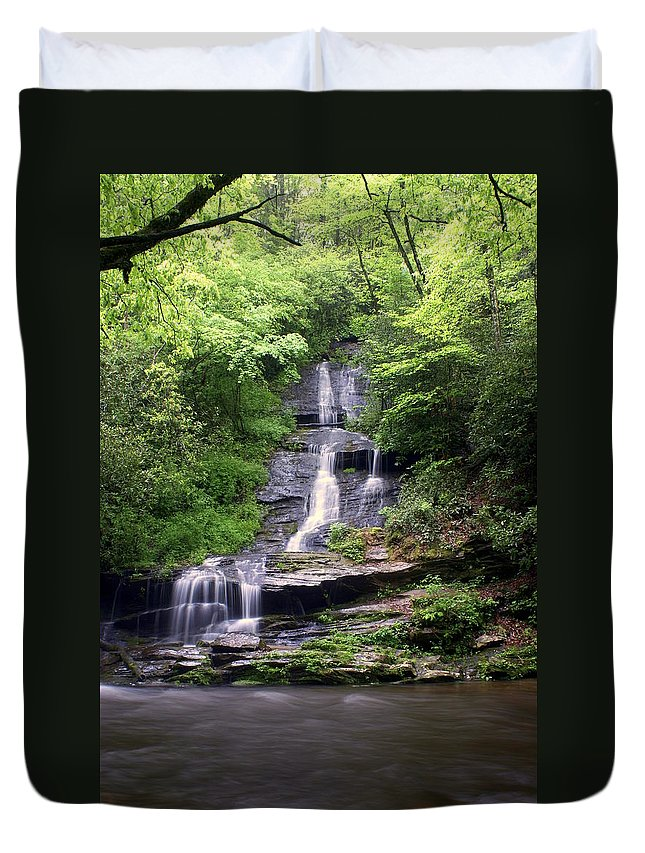 Waterfalls Duvet Cover featuring the photograph Tom Branch Falls by Marty Koch