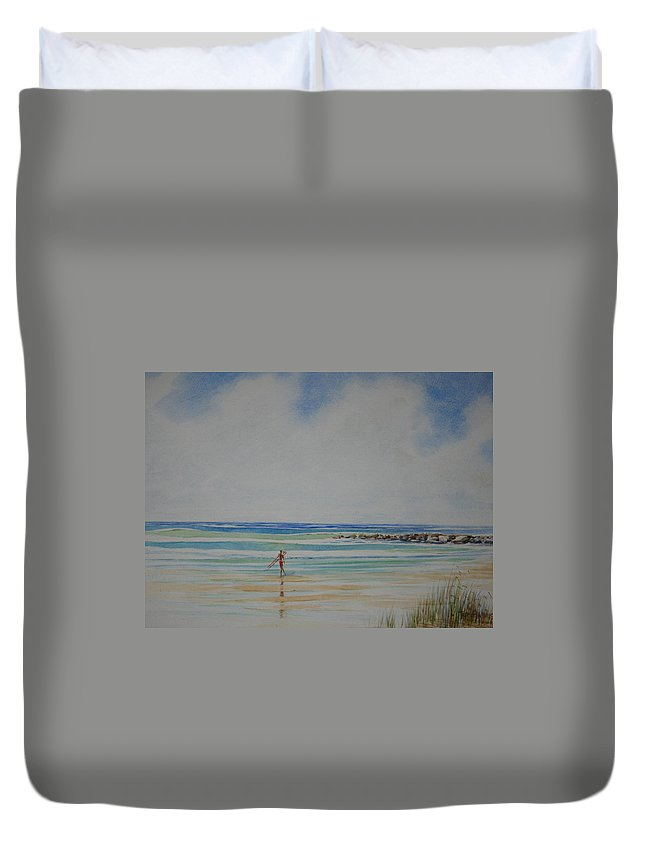 Beach Duvet Cover featuring the painting Tom by Tom Harris