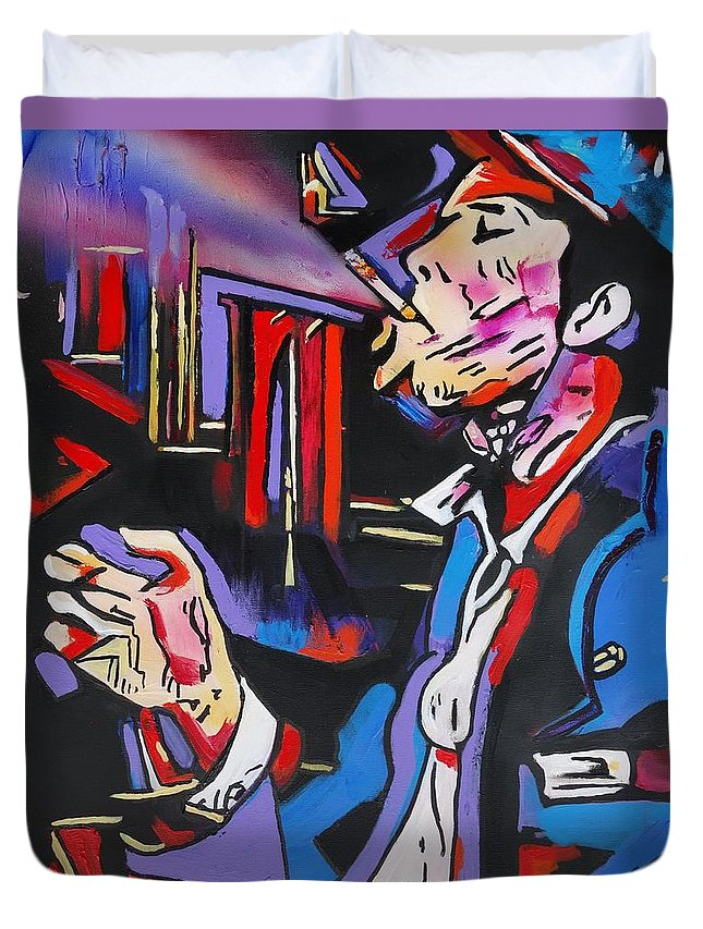 Tom Waits Duvet Cover featuring the painting Tom Traubert's Blues by Eric Dee