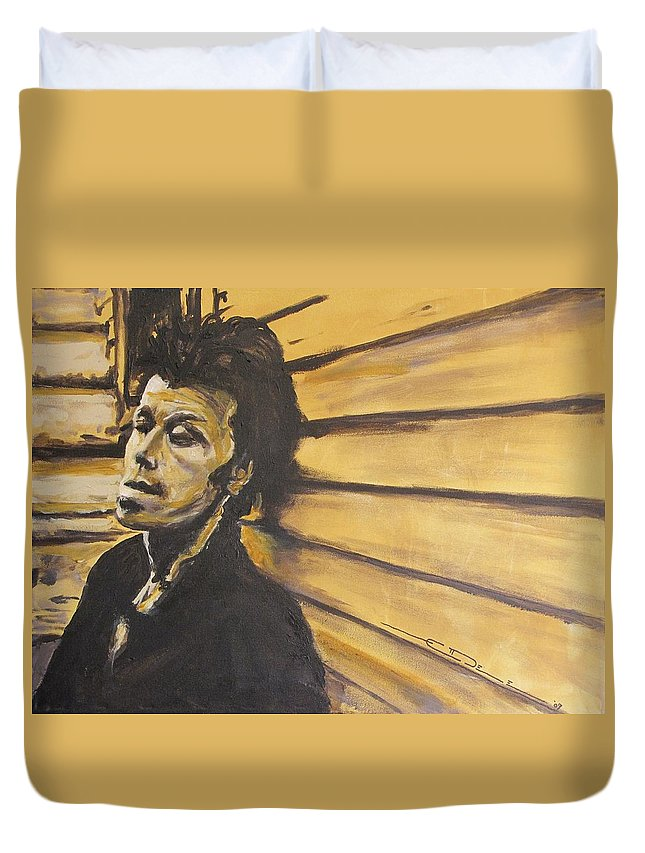 Tom Waits Duvet Cover featuring the painting Tom Waits by Eric Dee