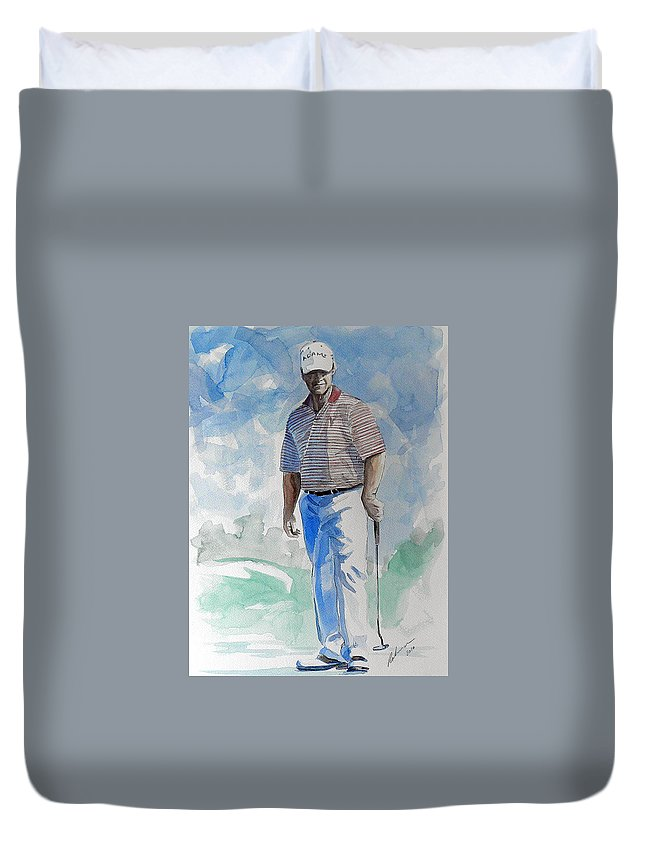 Tom Watson Duvet Cover featuring the painting Tom Watson In Dubai by Mark Robinson