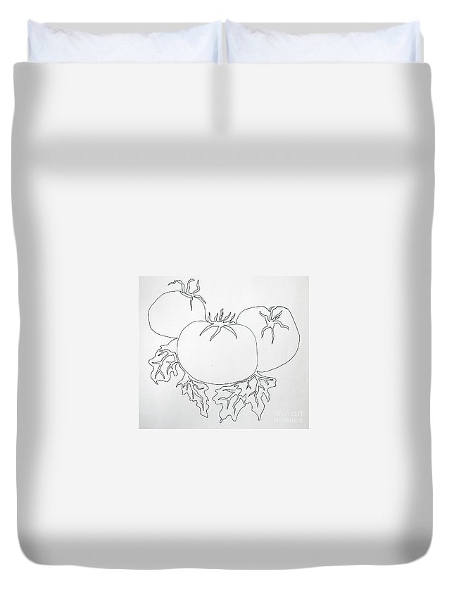 Drawing Duvet Cover featuring the painting Tomatoes On A Vine In One Line by Vicki Housel