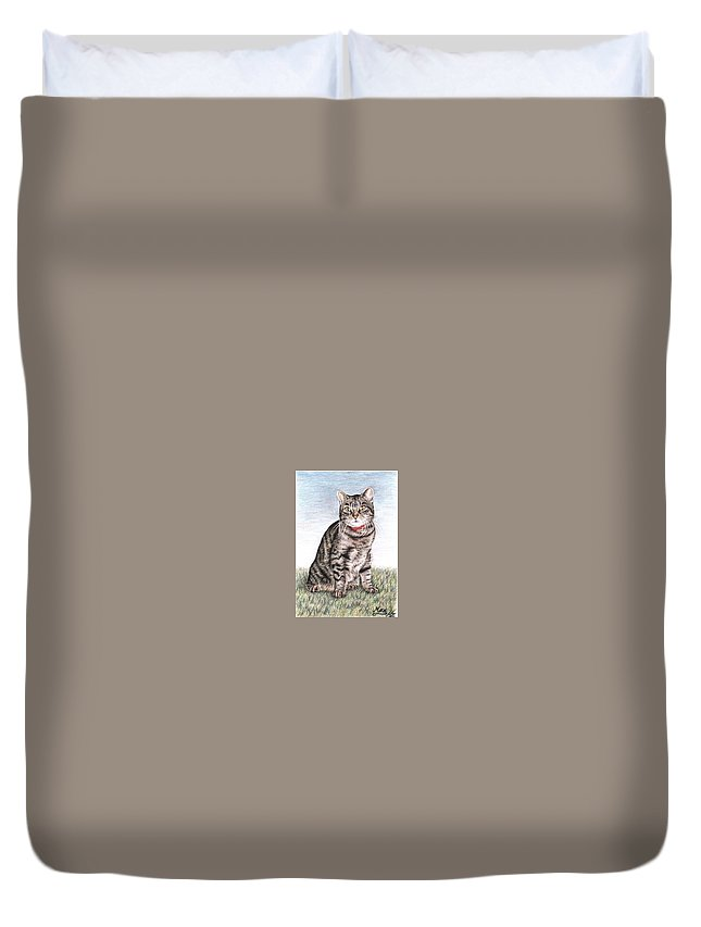 Cat Duvet Cover featuring the drawing Tomcat Max by Nicole Zeug