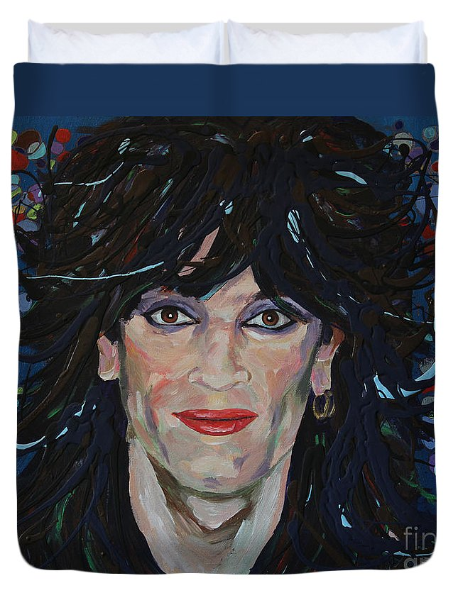 80s Duvet Cover featuring the painting Tommy Lee 80s Hair Bands Motley Crue by Robert Yaeger