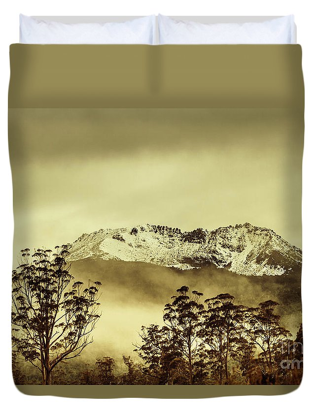 Vintage Duvet Cover featuring the photograph Toned View Of A Snowy Mount Gell, Tasmania by Jorgo Photography - Wall Art Gallery