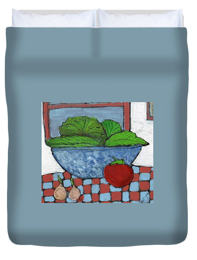 Food Duvet Cover featuring the painting Tonight's Salad by Wayne Potrafka