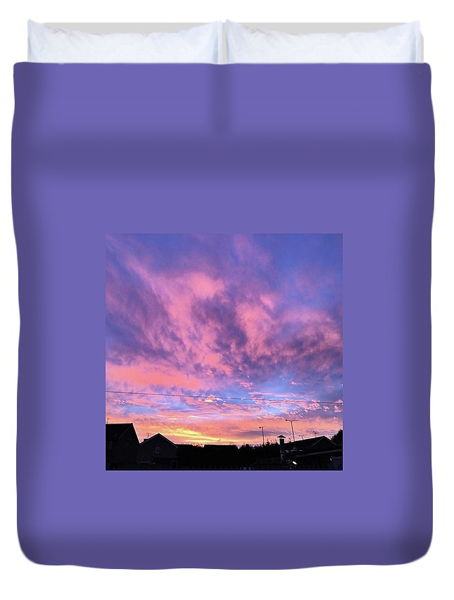 Natureonly Duvet Cover featuring the photograph Tonight's Sunset Over Tesco :) #view by John Edwards