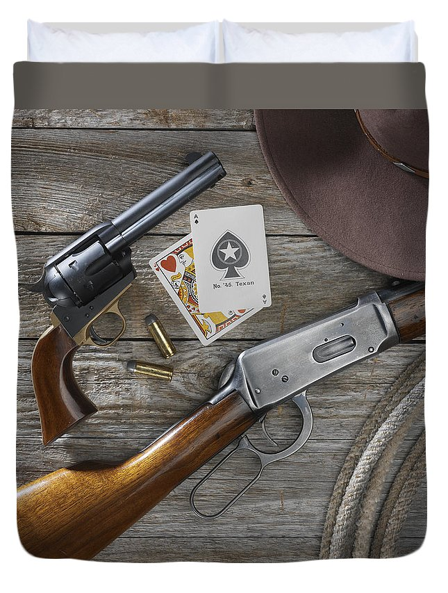 Old West Duvet Cover featuring the photograph Tools Of The Trade by Jerry McElroy