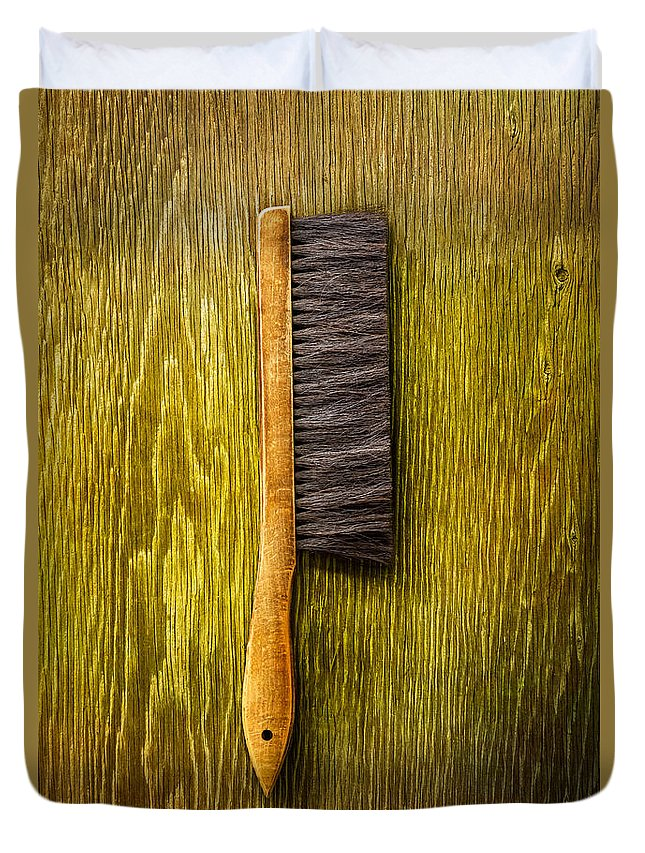 Brush Duvet Cover featuring the photograph Tools On Wood 52 by YoPedro