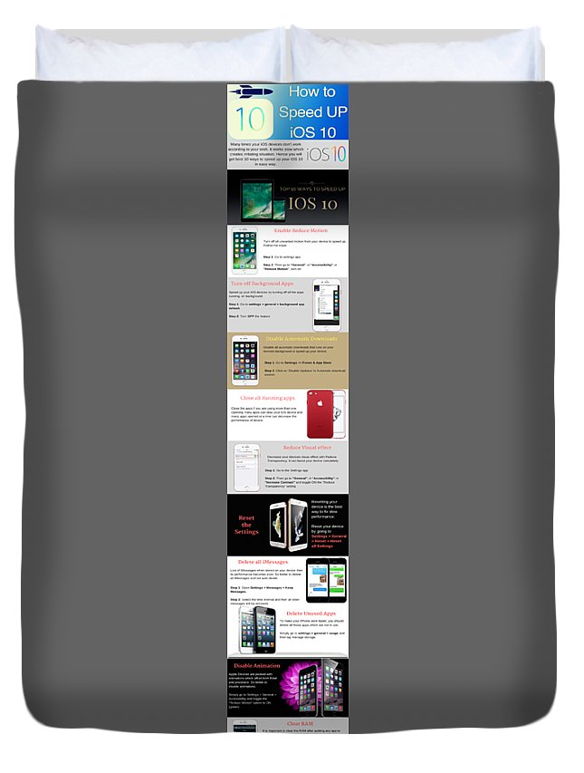 Speed Up Ios 10 Duvet Cover featuring the photograph Top 10 Free Methods to Speed up Slow iOS 10 by Henry Rice