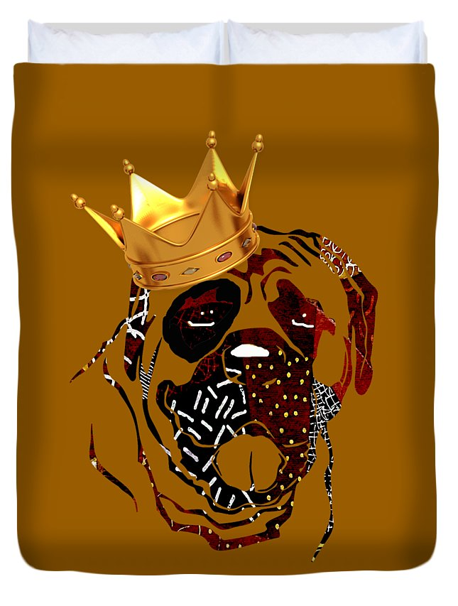 Dog Duvet Cover featuring the mixed media Top Dog by Marvin Blaine
