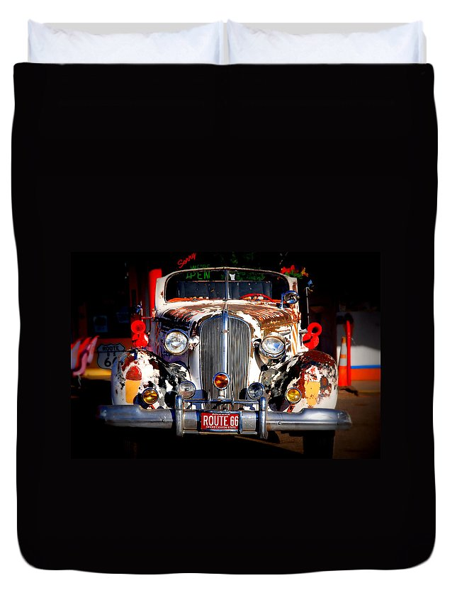 Route 66 Duvet Cover featuring the photograph Top Model On Route 66 by Susanne Van Hulst