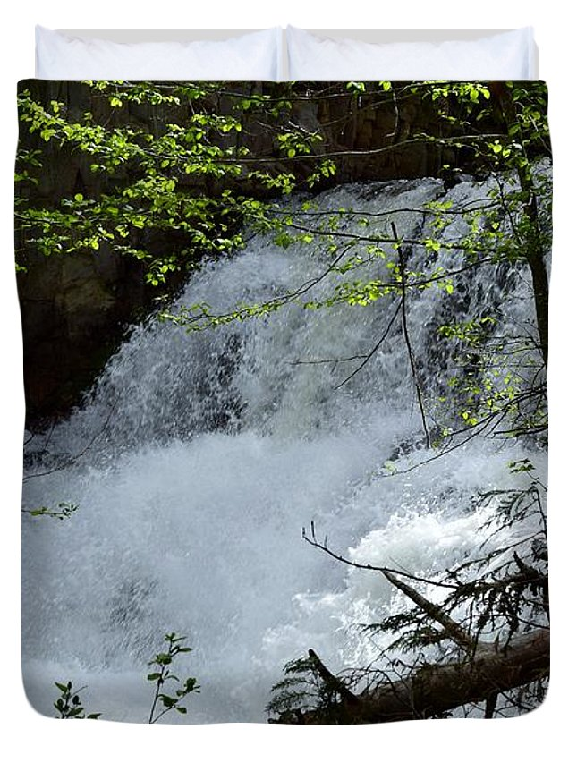 Waterfalls Duvet Cover featuring the photograph Top Of Clear Creek Falls by LKB Art and Photography