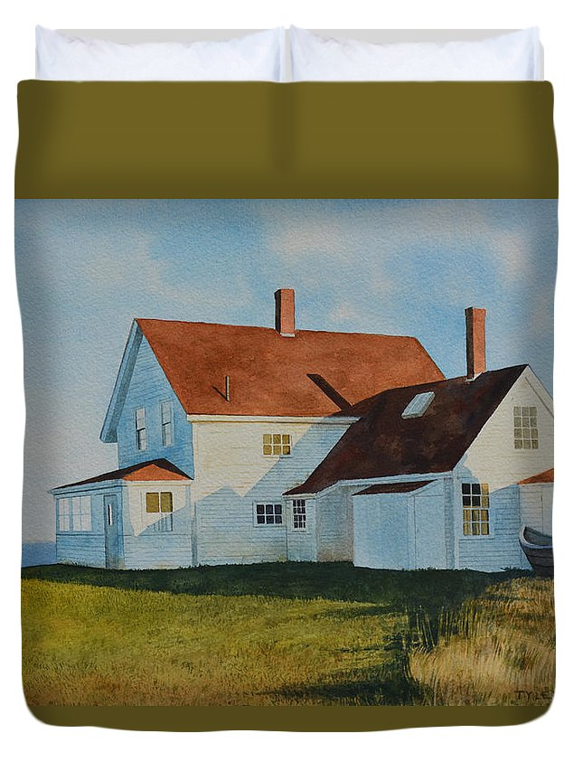 Seascape Duvet Cover featuring the painting Top Of Monhegan by Tyler Ryder